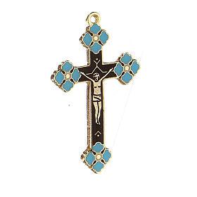 Pingente crucifixo zamak decorações esmalte azul claro s2