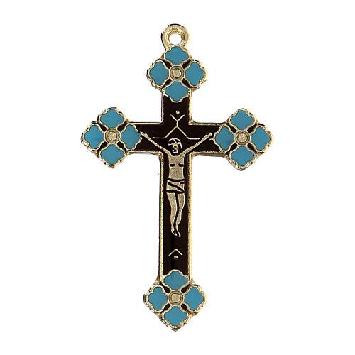 Pingente crucifixo zamak decorações esmalte azul claro 1