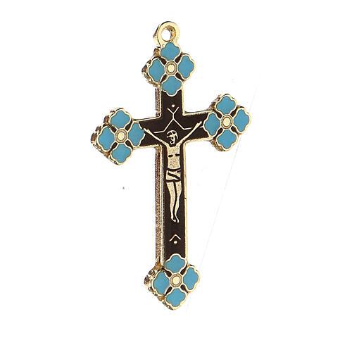Pingente crucifixo zamak decorações esmalte azul claro 2