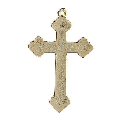Pingente crucifixo zamak decorações esmalte azul claro 3