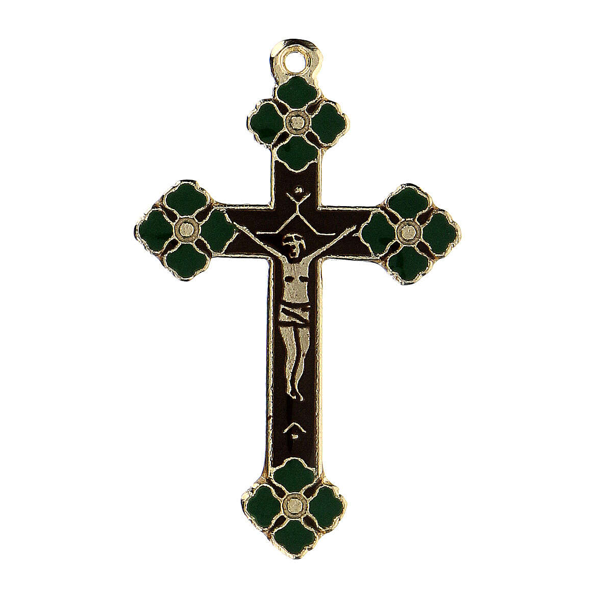 Crucifix émail bleu pendentif 4