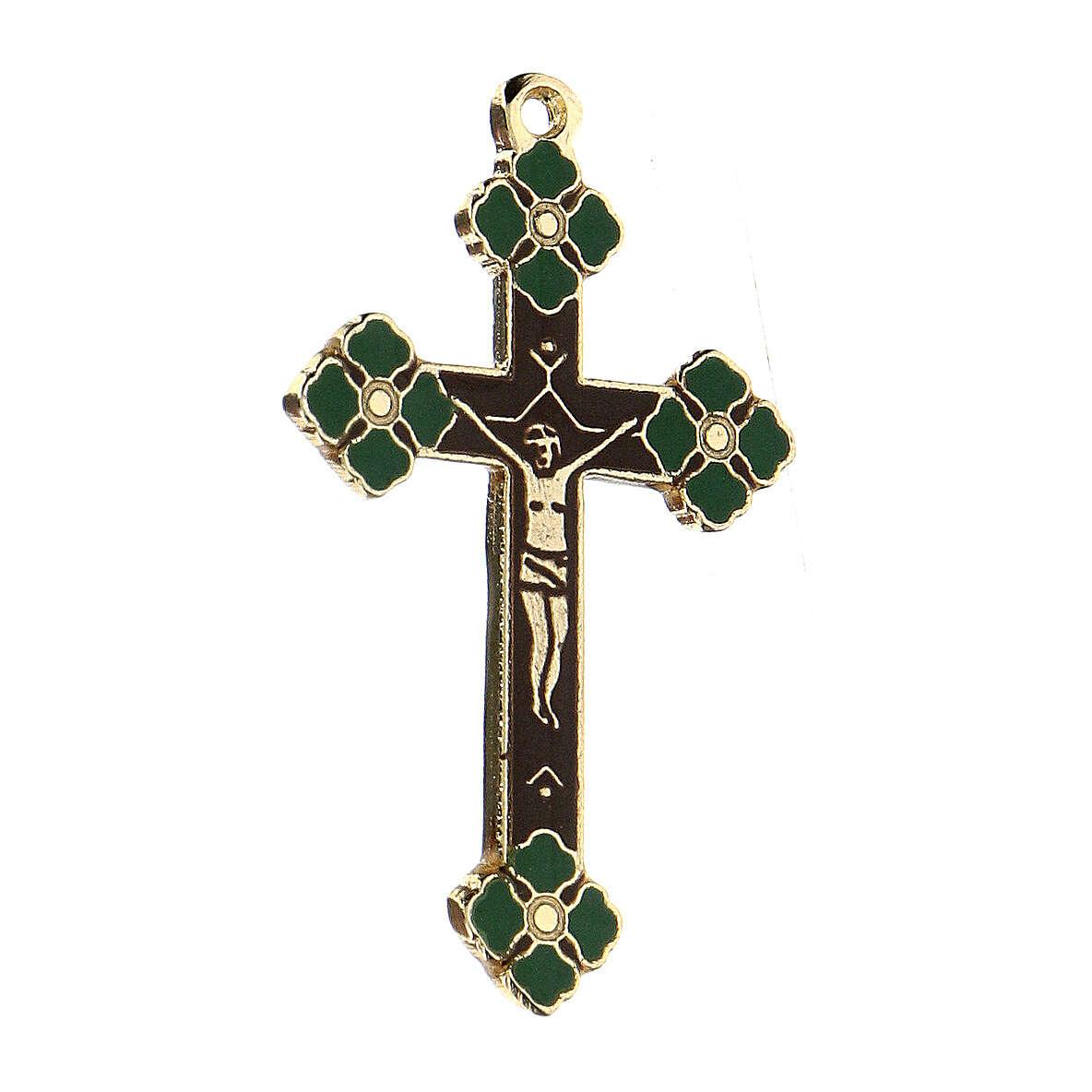 Pingente crucifixo zamak decorações esmaltes coloridos aplicados à mão 4