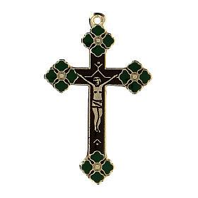 Pingente crucifixo zamak decorações esmaltes coloridos aplicados à mão s1