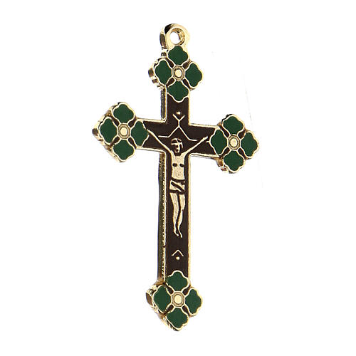 Pingente crucifixo zamak decorações esmaltes coloridos aplicados à mão 2