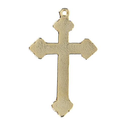 Pingente crucifixo zamak decorações esmaltes coloridos aplicados à mão 3