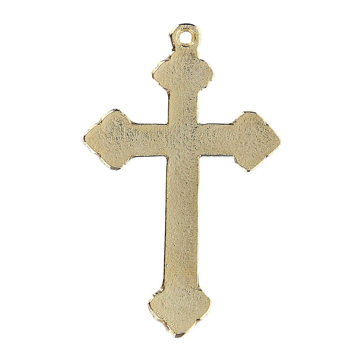 Crucifix pendant with green enamel paint 4