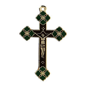 Crucifix pendant with green enamel paint s1