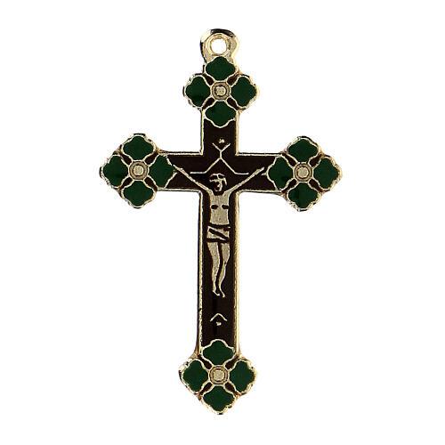 Crucifix pendant with green enamel paint 1