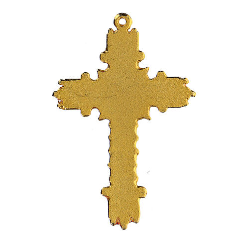 Croix pendentif doré émail corail 3