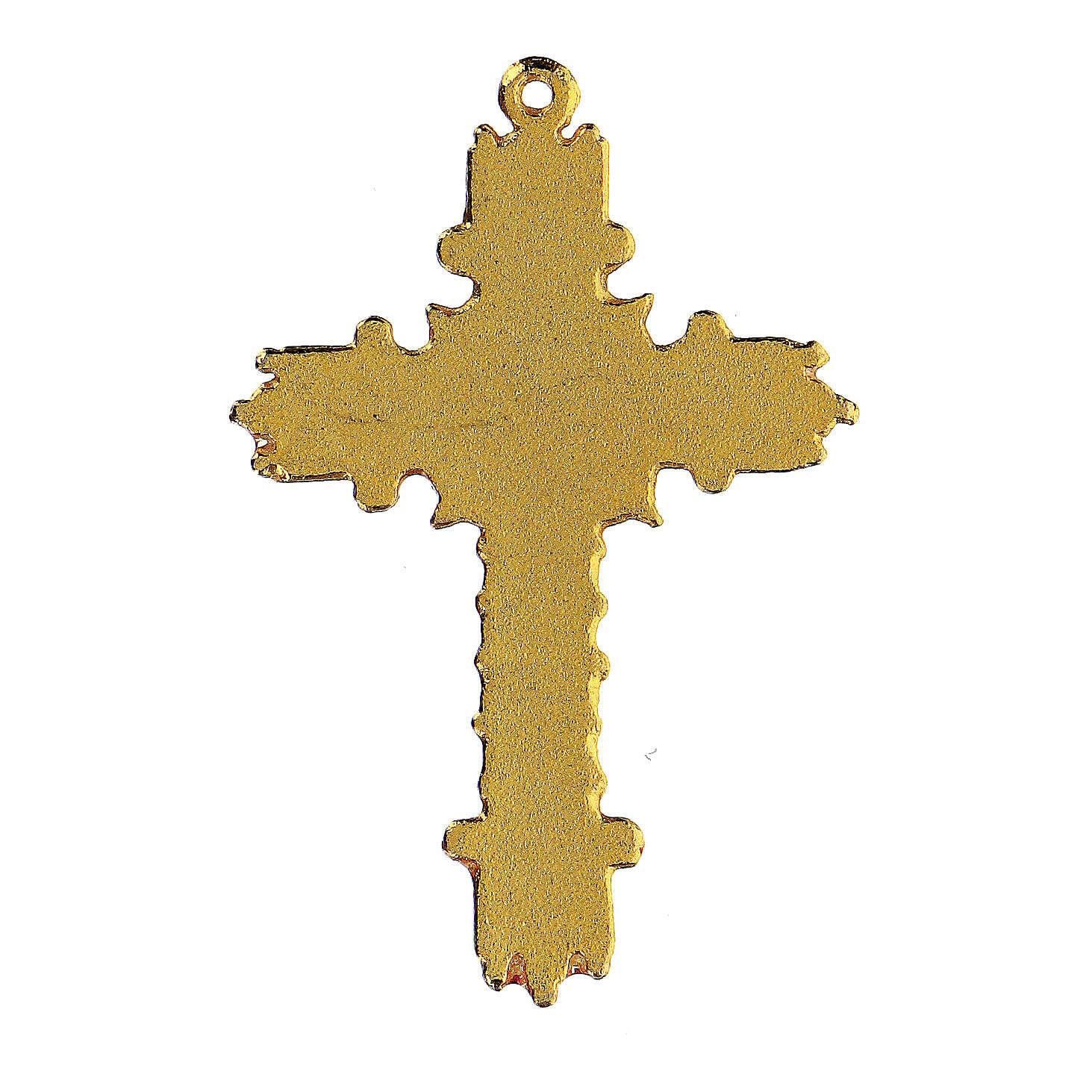 Croce pendente dorata smalto corallo  4