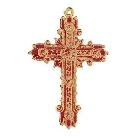 Croce pendente dorata smalto corallo  s1