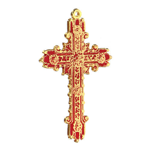Croce pendente dorata smalto corallo  2
