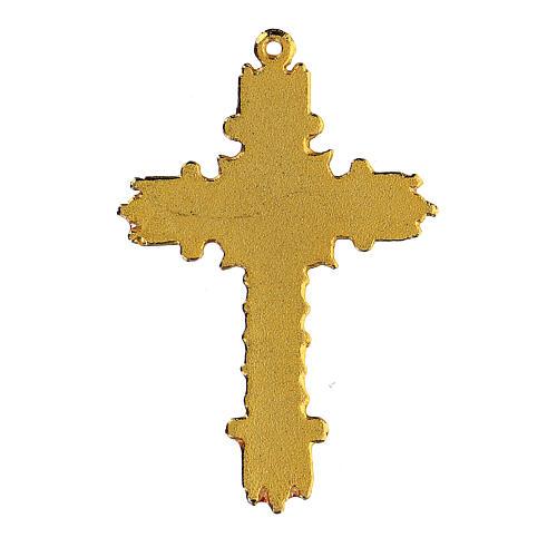 Croce pendente dorata smalto corallo  3