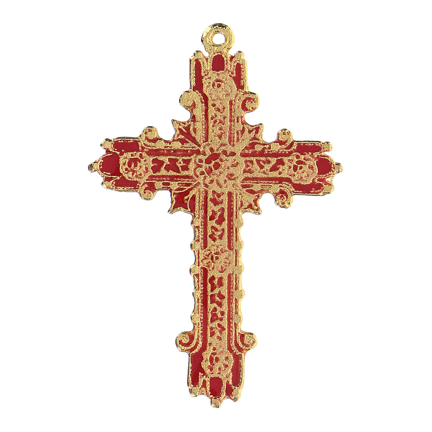 Golden cross pendant with coral enamel 4