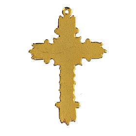 Golden cross pendant with coral enamel s3
