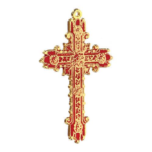 Golden cross pendant with coral enamel 2