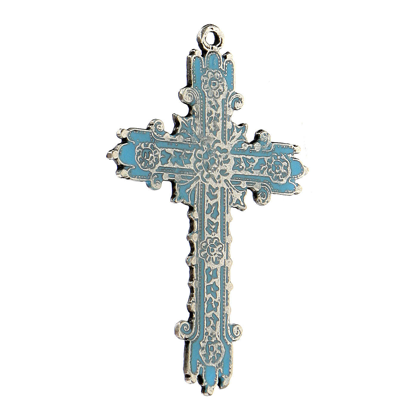 Antique silver and turquoise enamel cross pendant 4
