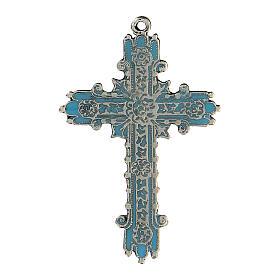 Colgante cruz plata envejecida y esmalte turquesa s1