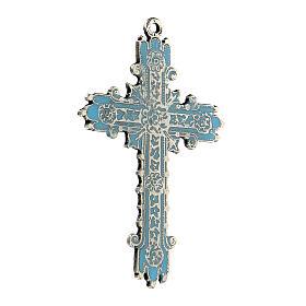 Colgante cruz plata envejecida y esmalte turquesa s2