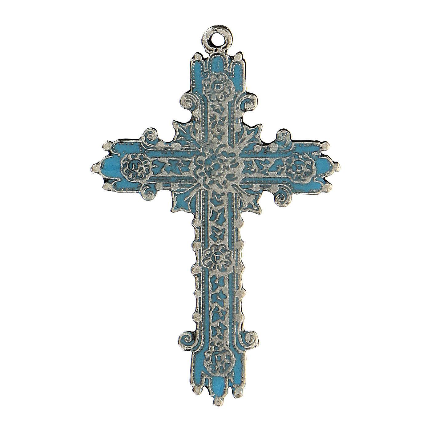 Pendente croce argento antico e smalto turchese 4
