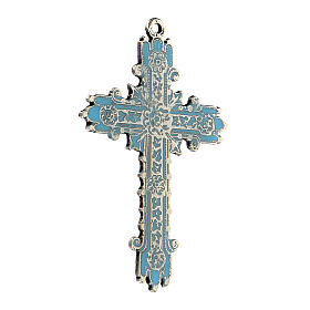 Cross pendant with antique silver and turquoise enamel s2