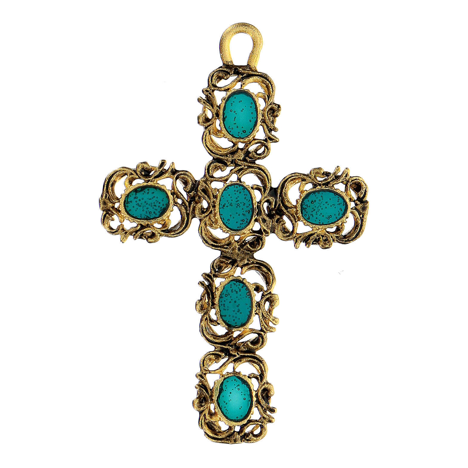 Pendant cathedral cross decorated green and gold 4
