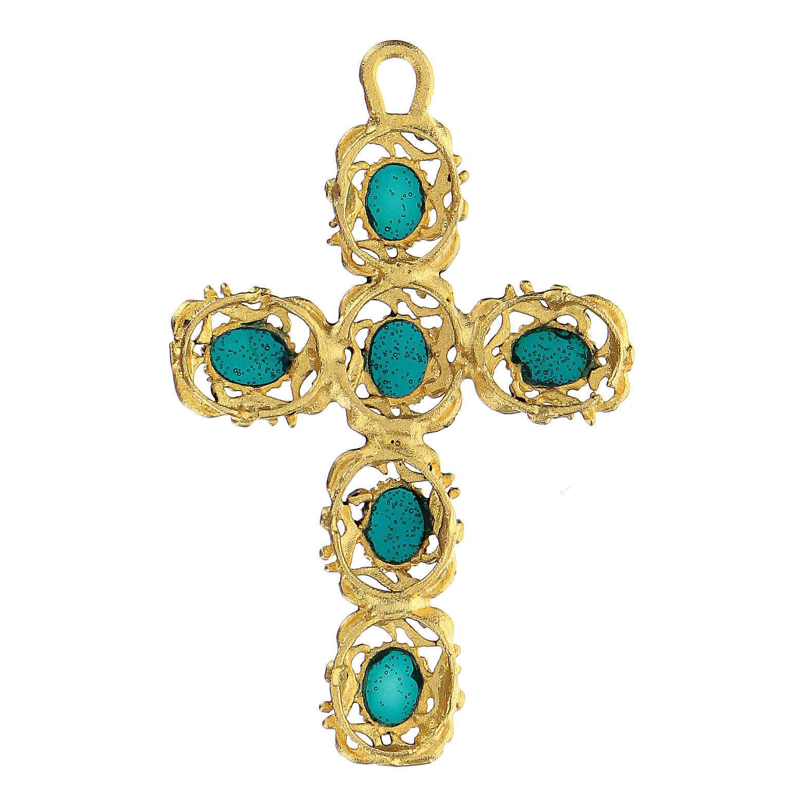 Croix cathédrale pendentif décoré vert et doré 4