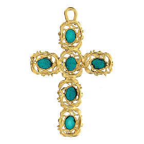 Pingente cruz catedral zamak dourado e decorações esmalte s3