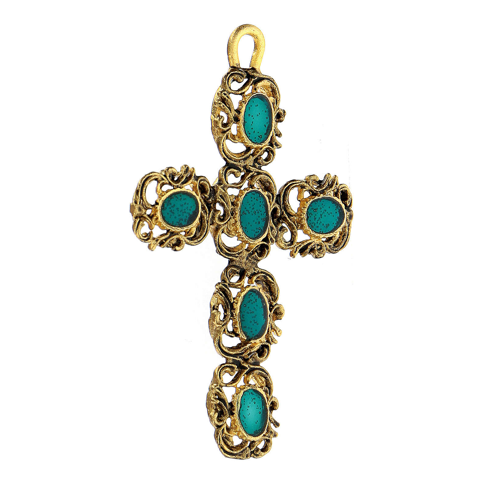 Cathedral cross pendant with green and golden decor 4