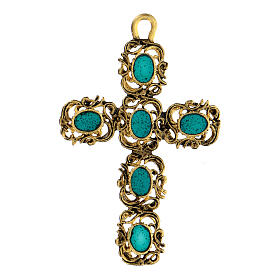 Cathedral cross pendant with green and golden decor s1