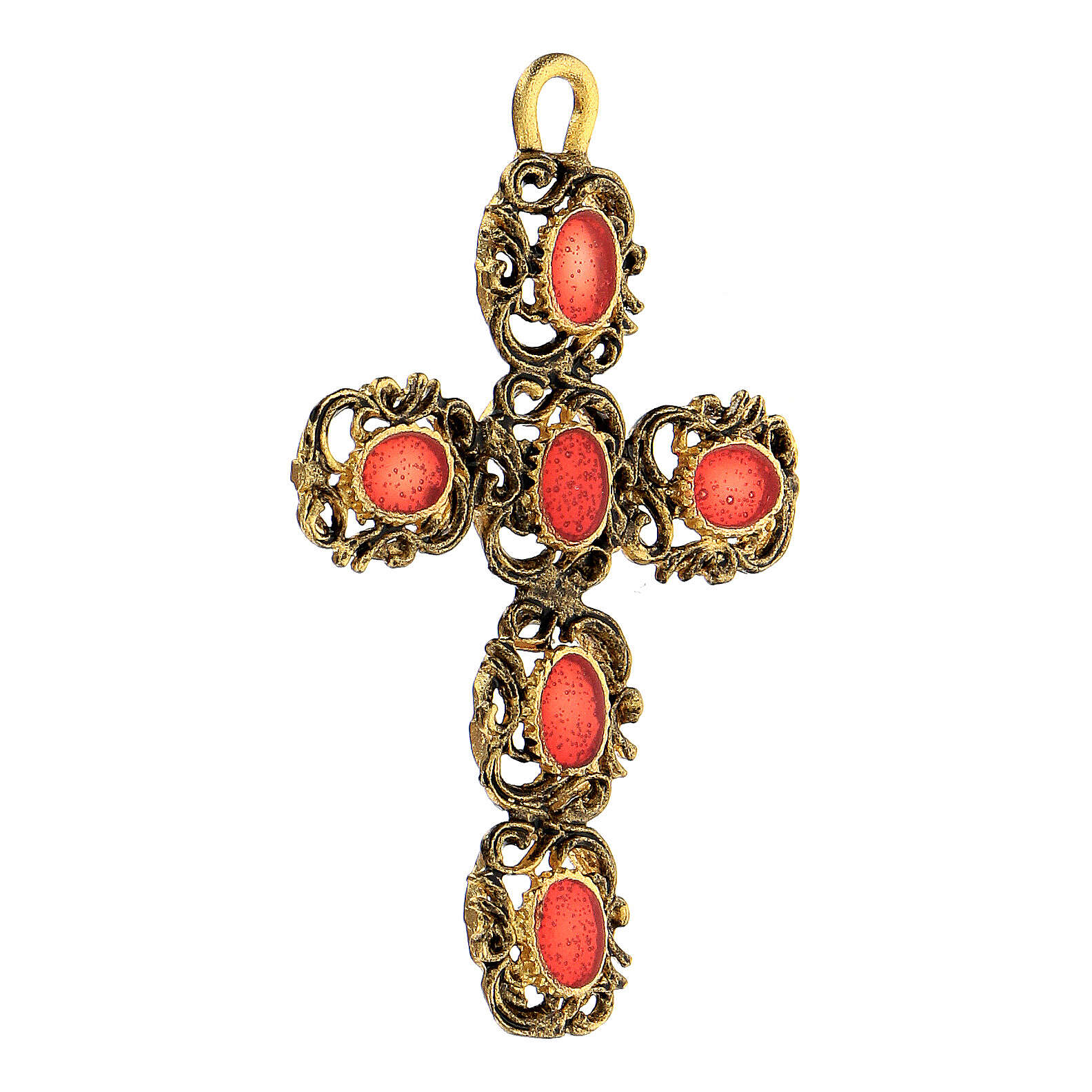 Pendente croce cattedrale dorata smalto rosso 4