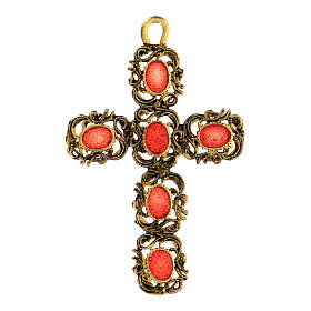 Pendente croce cattedrale dorata smalto rosso s1