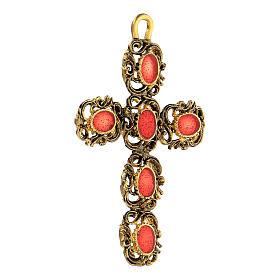 Pendente croce cattedrale dorata smalto rosso s2