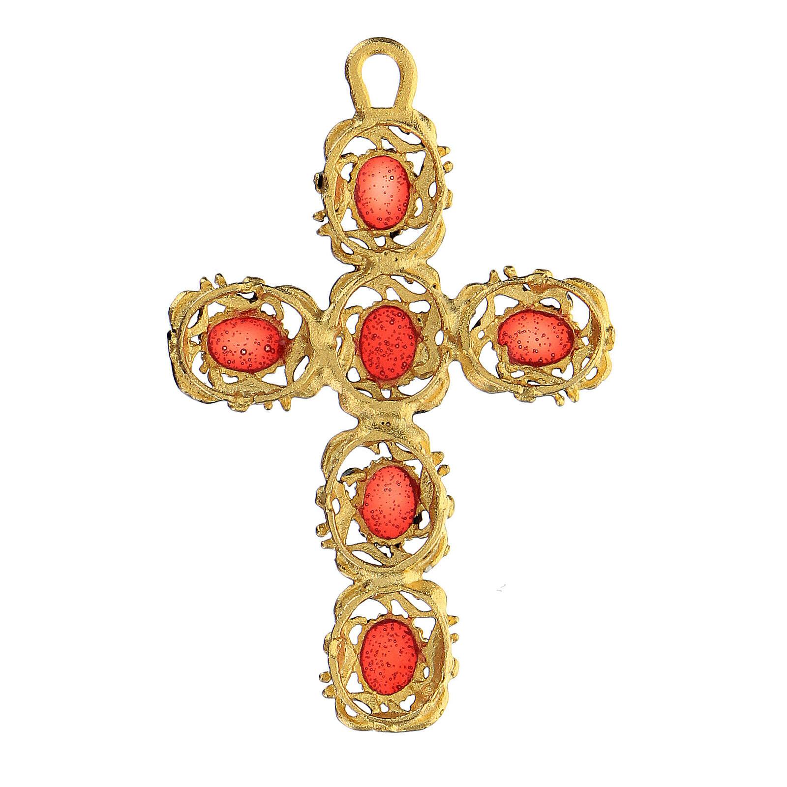 Pingente cruz catedral zamak dourado e decorações esmalte vermelho 4