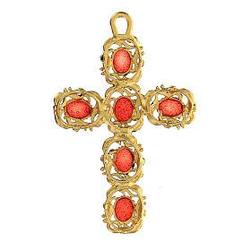 Pingente cruz catedral zamak dourado e decorações esmalte vermelho s3