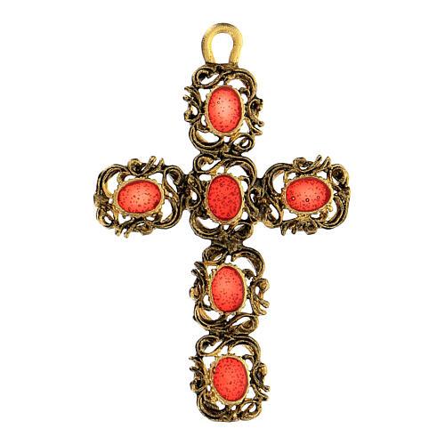 Pingente cruz catedral zamak dourado e decorações esmalte vermelho 1