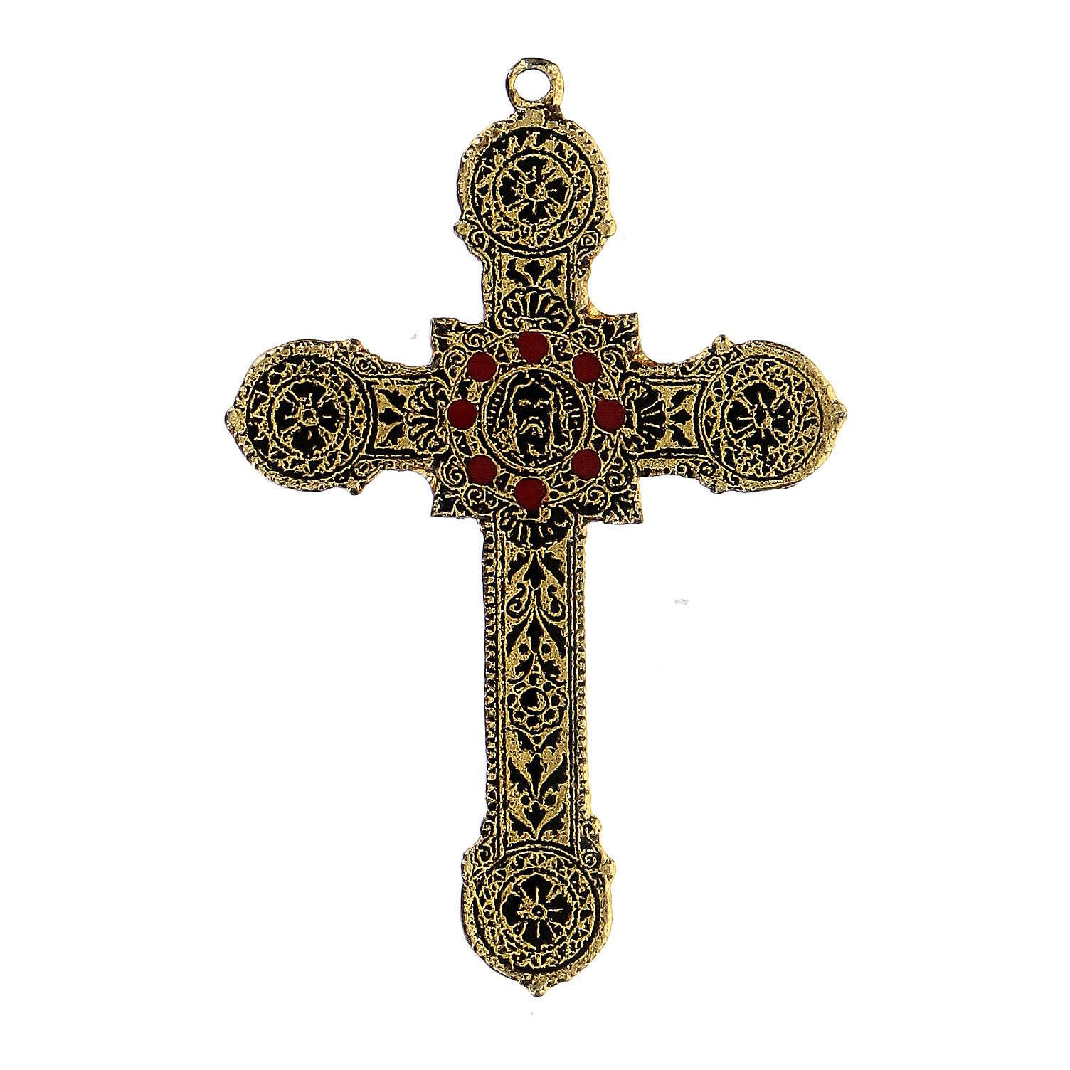 Pingente cruz metal decoração elegante com esmaltes 4