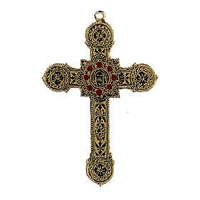 Pingente cruz metal decoração elegante com esmaltes s1