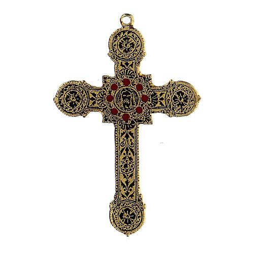 Pingente cruz metal decoração elegante com esmaltes 1