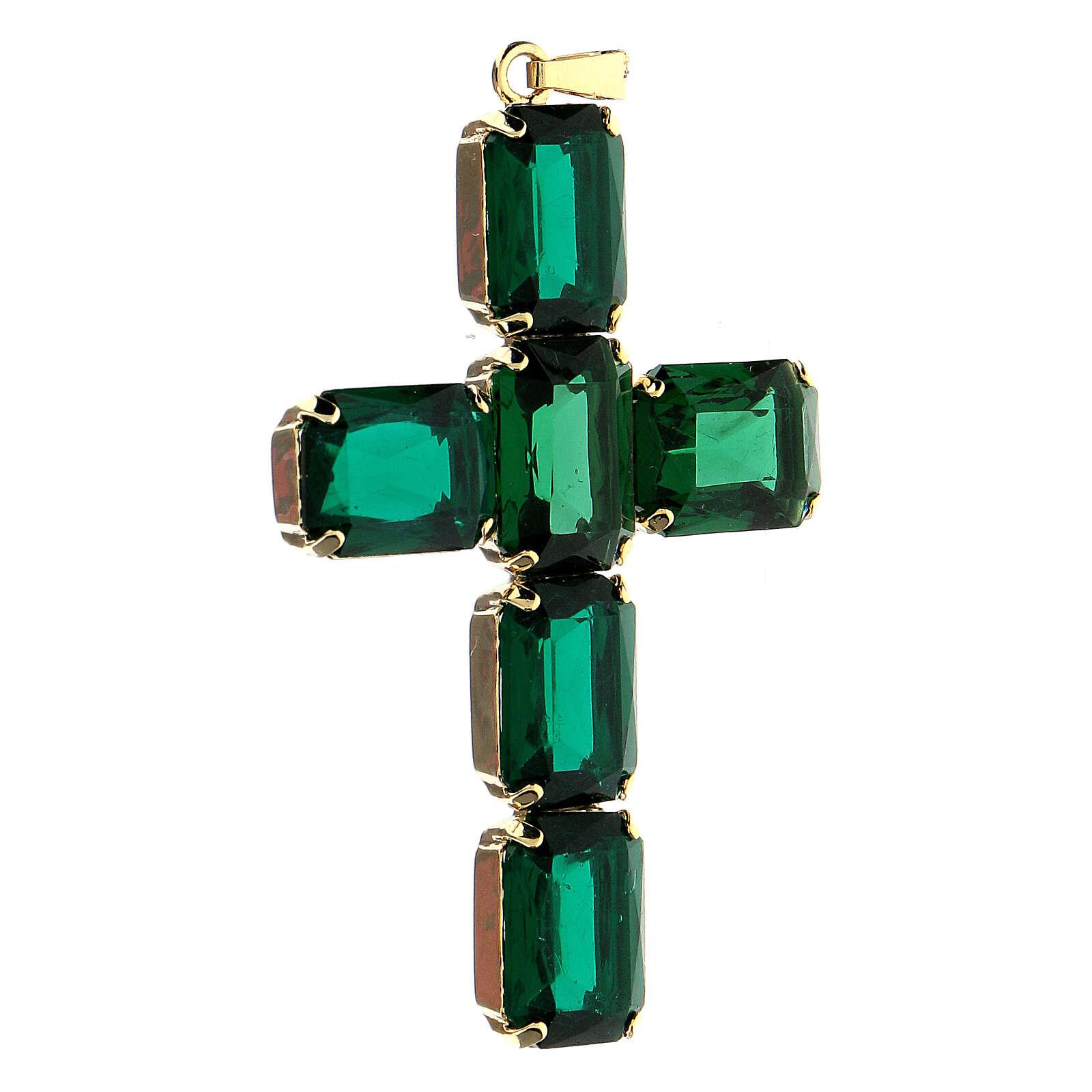 Emerald green crystal cross pendant 4