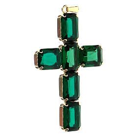 Krzyżyk zawieszka kryształ zielony szmaragdowy s2