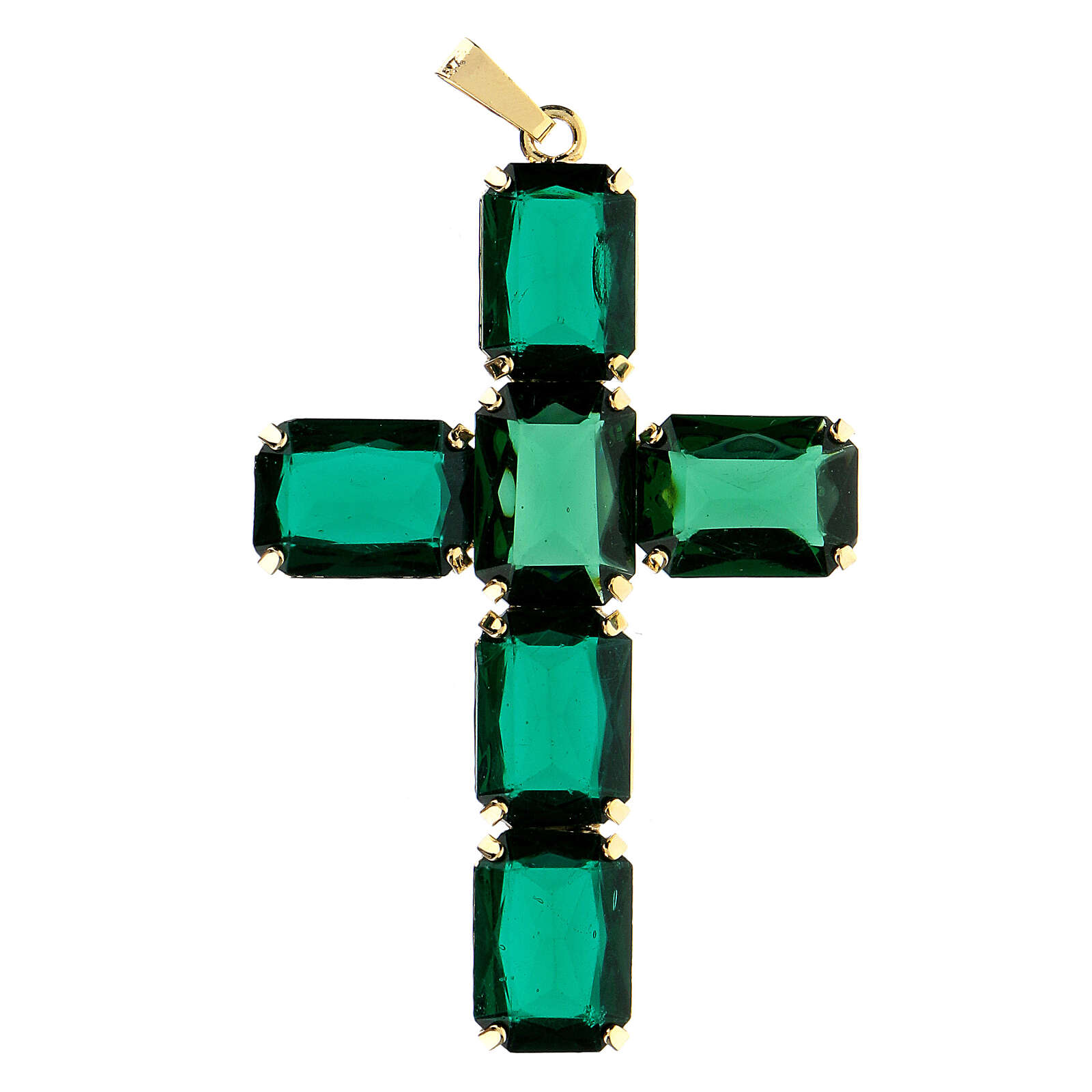 Cross pendant with green crystal emeralds 4