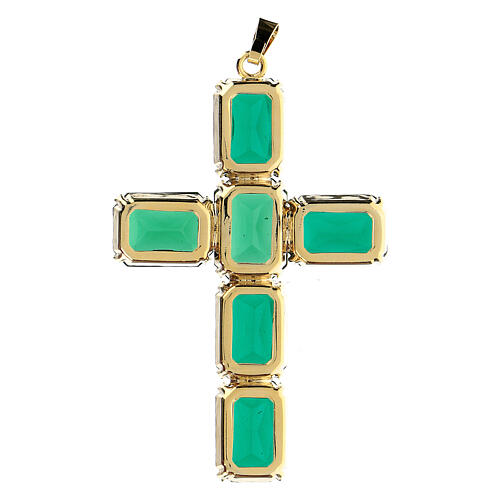 Cross pendant with green crystal emeralds 3