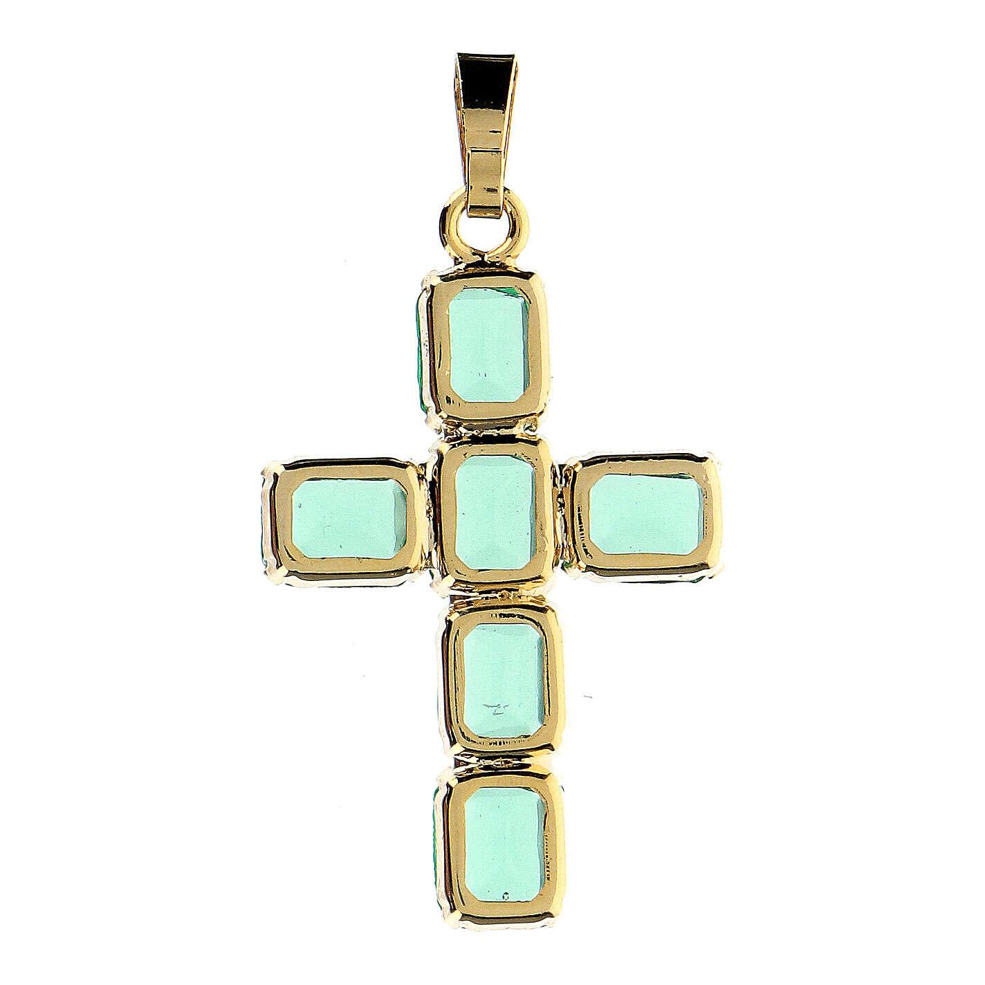 Pendente croce cristallo verde ottone dorato 4