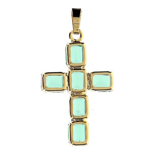 Pingente cruz latão dourado com cristais verdes 3
