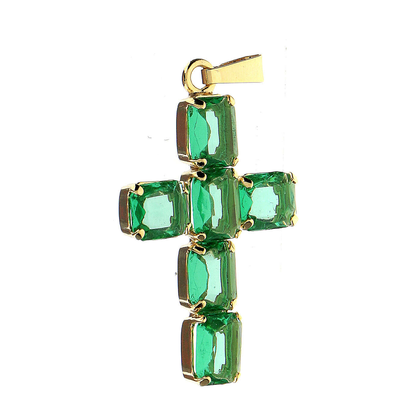 Cross pendant in golden brass with green crystals 4