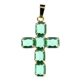 Cross pendant in golden brass with green crystals s1