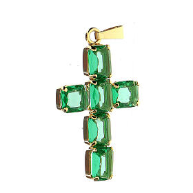 Cross pendant in golden brass with green crystals s2