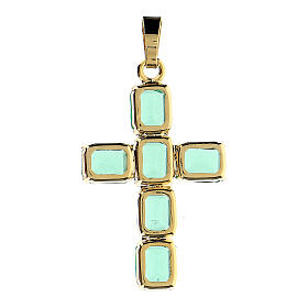 Cross pendant in golden brass with green crystals s3