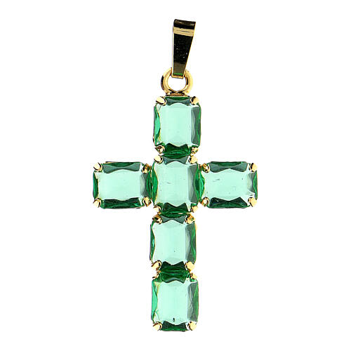 Cross pendant in golden brass with green crystals 1